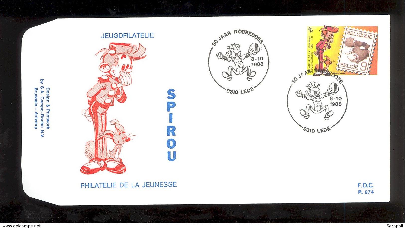 FDC - Spirou - Philatélie De La Jeunesse - B.D. - Timbre N° 2302 - Tampon Lede - FDC