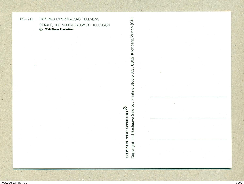 WALT DISNEY Carte En Relief 3D Lenticulaire Lenticular Donald Duck Canard Télévision Television PS-211 En TB.Etat - Altre Illustrazioni