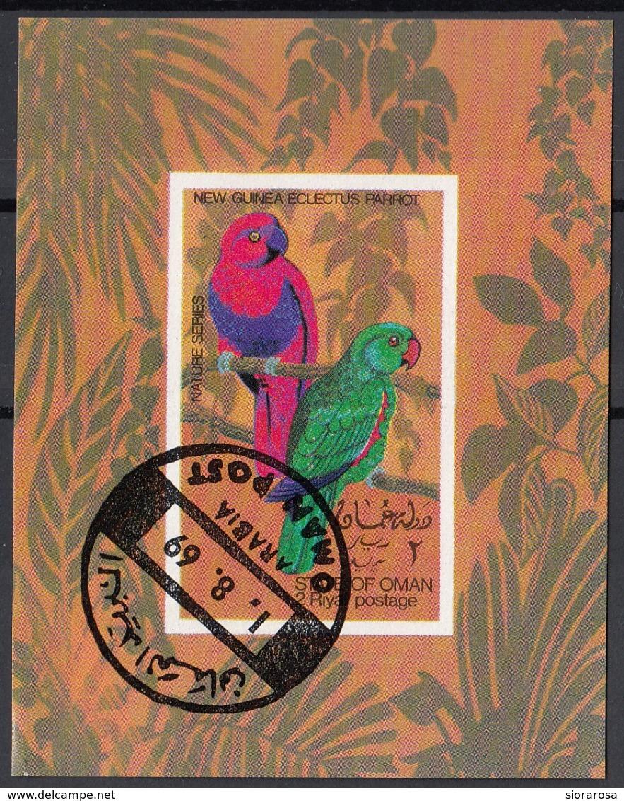 Oman 1969 Birds Uccelli Pappagalli Perrot Perroquet Sheet Imperf. CTO - Oman