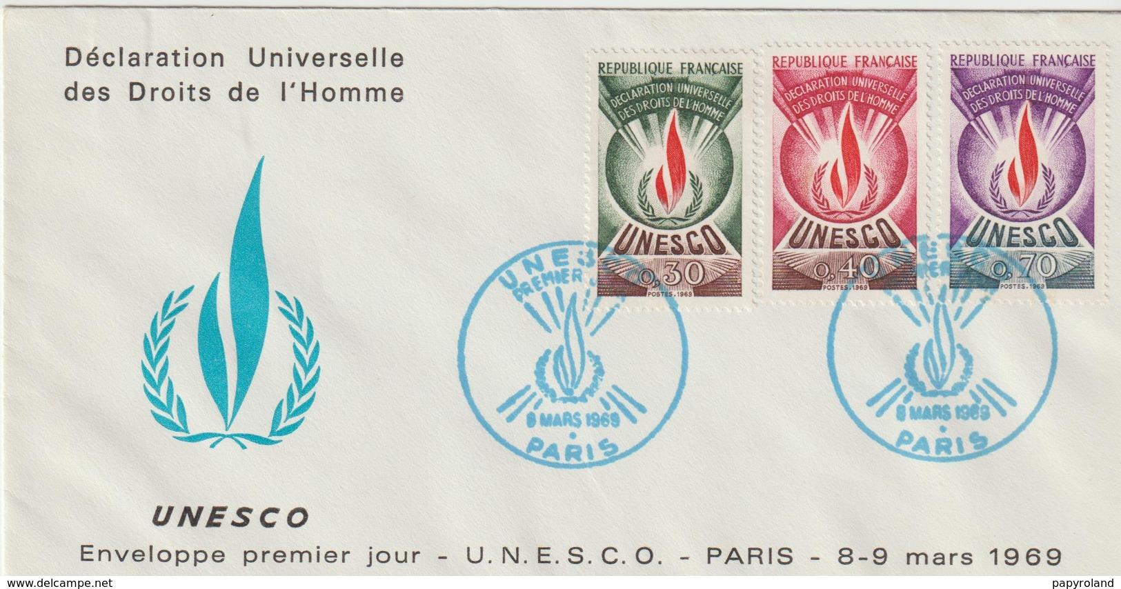 """Service              """" PARIS UNESCO Déclaration Universelle Des Droits De L'Homme """" Cachet 1er Jour 8/9/Mars 1969 - Lettres & Documents"""