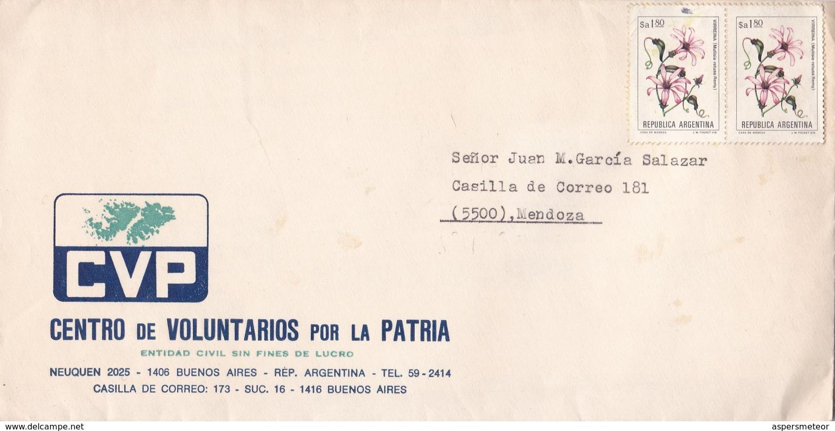 """""""CENTRO DE VOLUNTARIOS POR LA PATRIA"""" ARGENTINA COMMERCIAL COVER, CIRCULATED CIRCA 1970's BUENOS AIRES TO MENDOZA -LILHU - Argentina"""