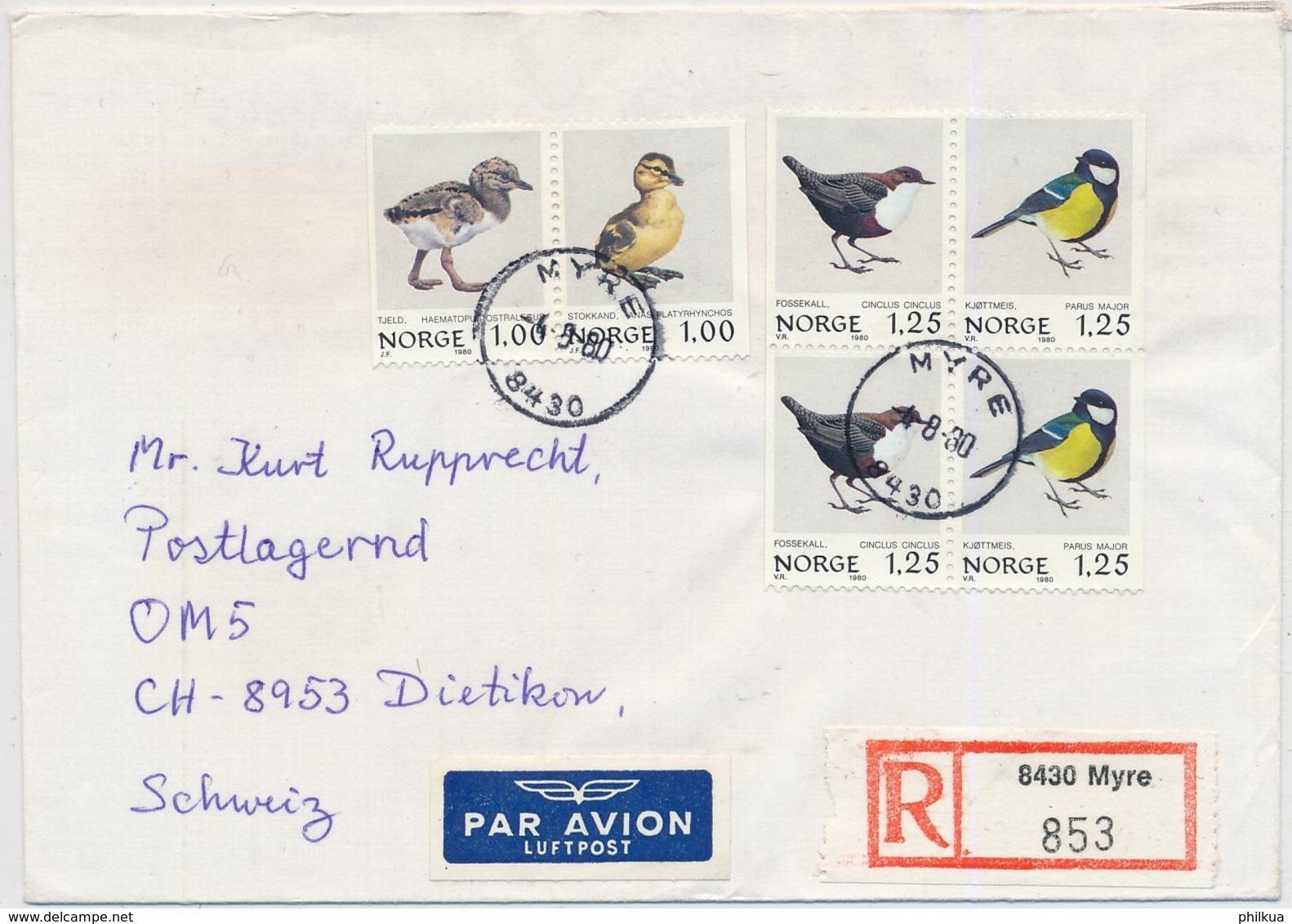 Michel 811-814 Auf Brief Gelaufen Myre - Dietikon Vogel – Bird - Oiseau - Covers & Documents