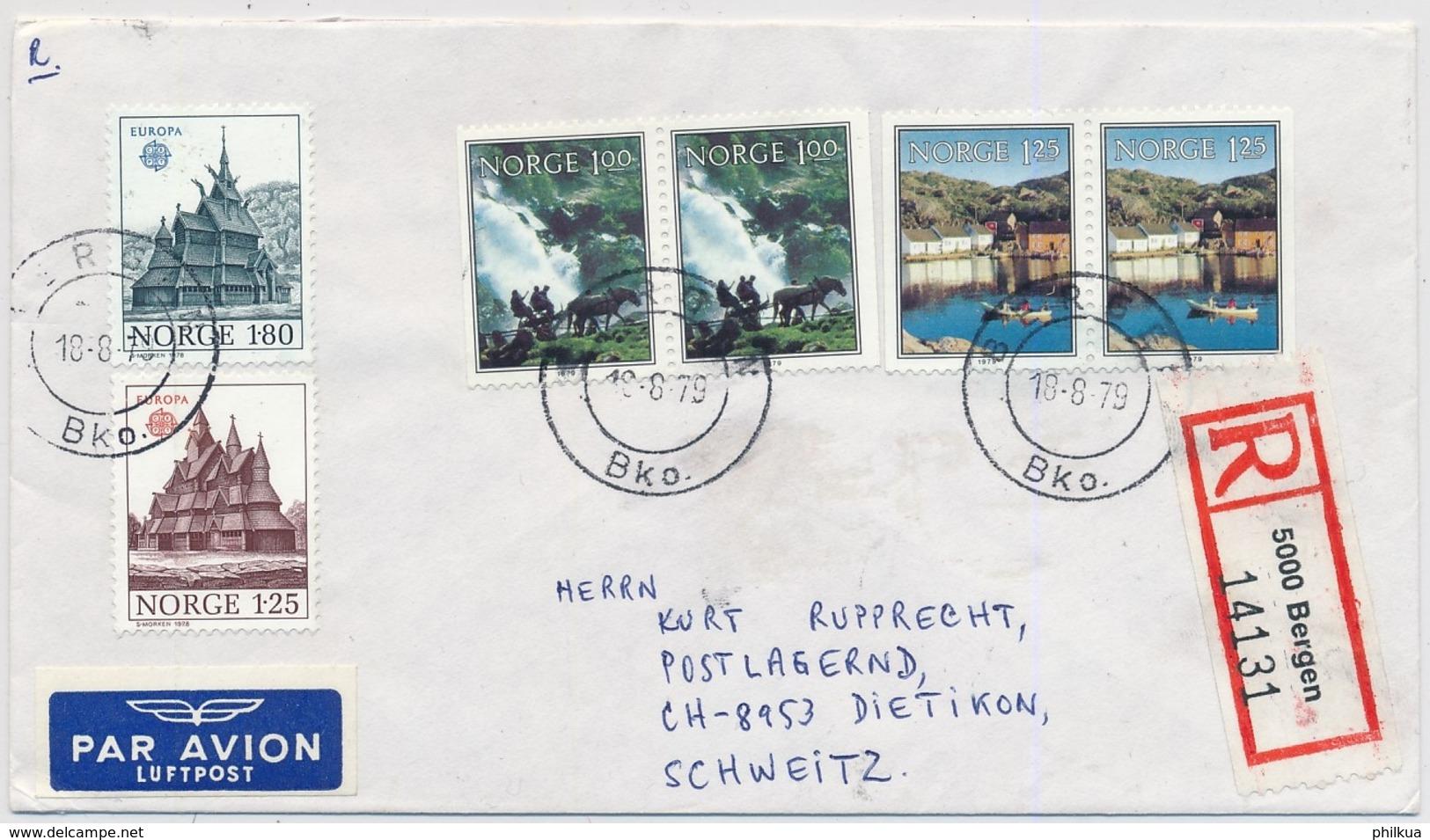 Michel 769-770, 795-796 Auf Brief Gelaufen Bergen - Dietikon - Covers & Documents