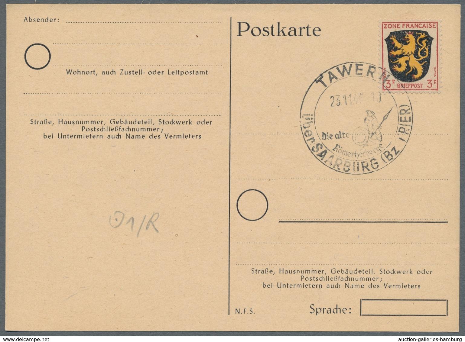 Saarland (1947/56) - Besonderheiten: TAWERN über SAARBURG (Bz. TRIER) 23.11.46, Klarer Abschlag Auf - Non Classificati