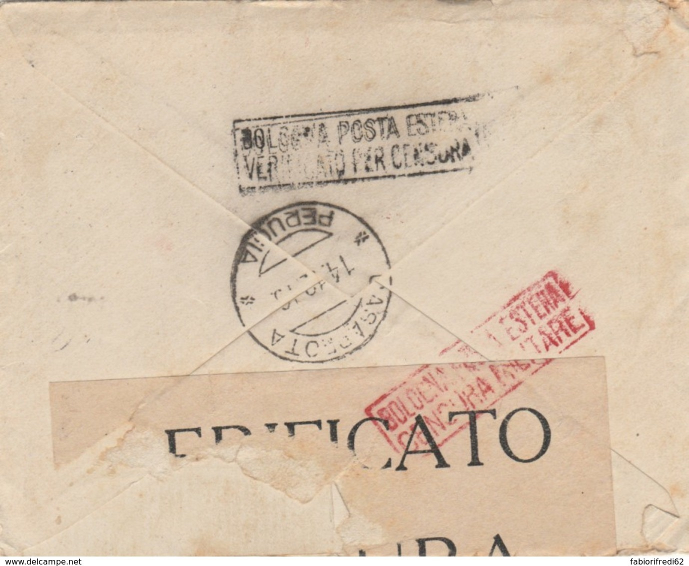LETTERA USA 1916 CENSURA ITALIANA -NEW YORK -PERUGIA (VX578 - Storia Postale
