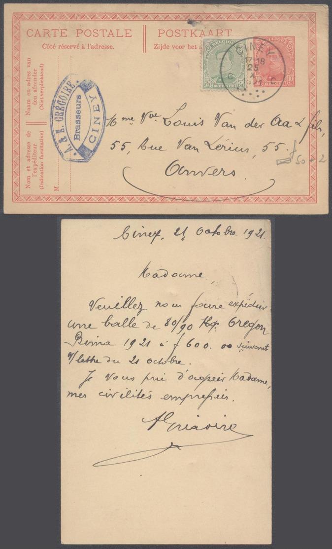 """EP Au Type 10ctm Rouge + N°137 Obl Simple Cercle Anormale """"Ciney"""" (1921) Vers Anvers / émission 1915, Brasseur - Ganzsachen"""