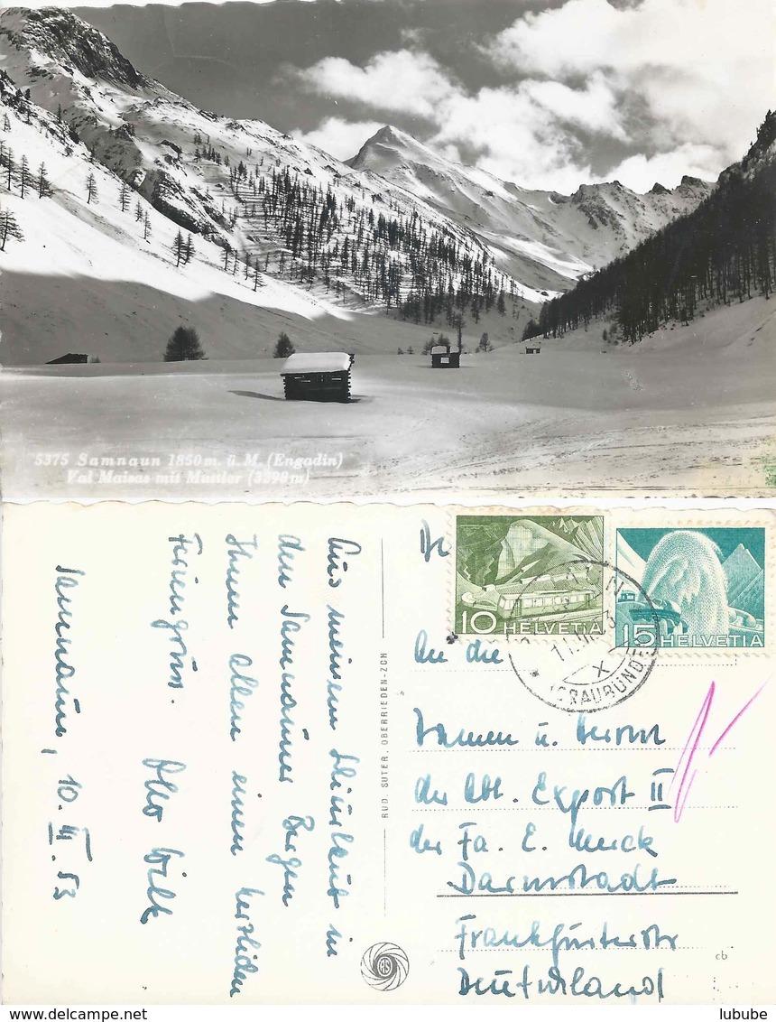 """AK  """"Samnaun - Val Maisas Mit Muttler""""  (SAMNAUN)        1953 - Suisse"""