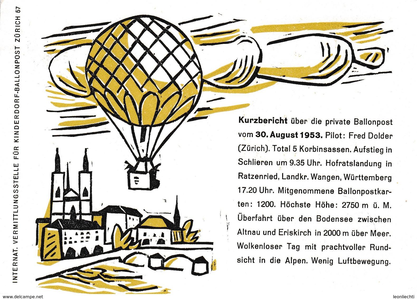 "Ballonpost, Ballon "" Zürich "" 19.9.1953. I.V.K.B.P. Schlieren - Zürich. - Autres Documents"