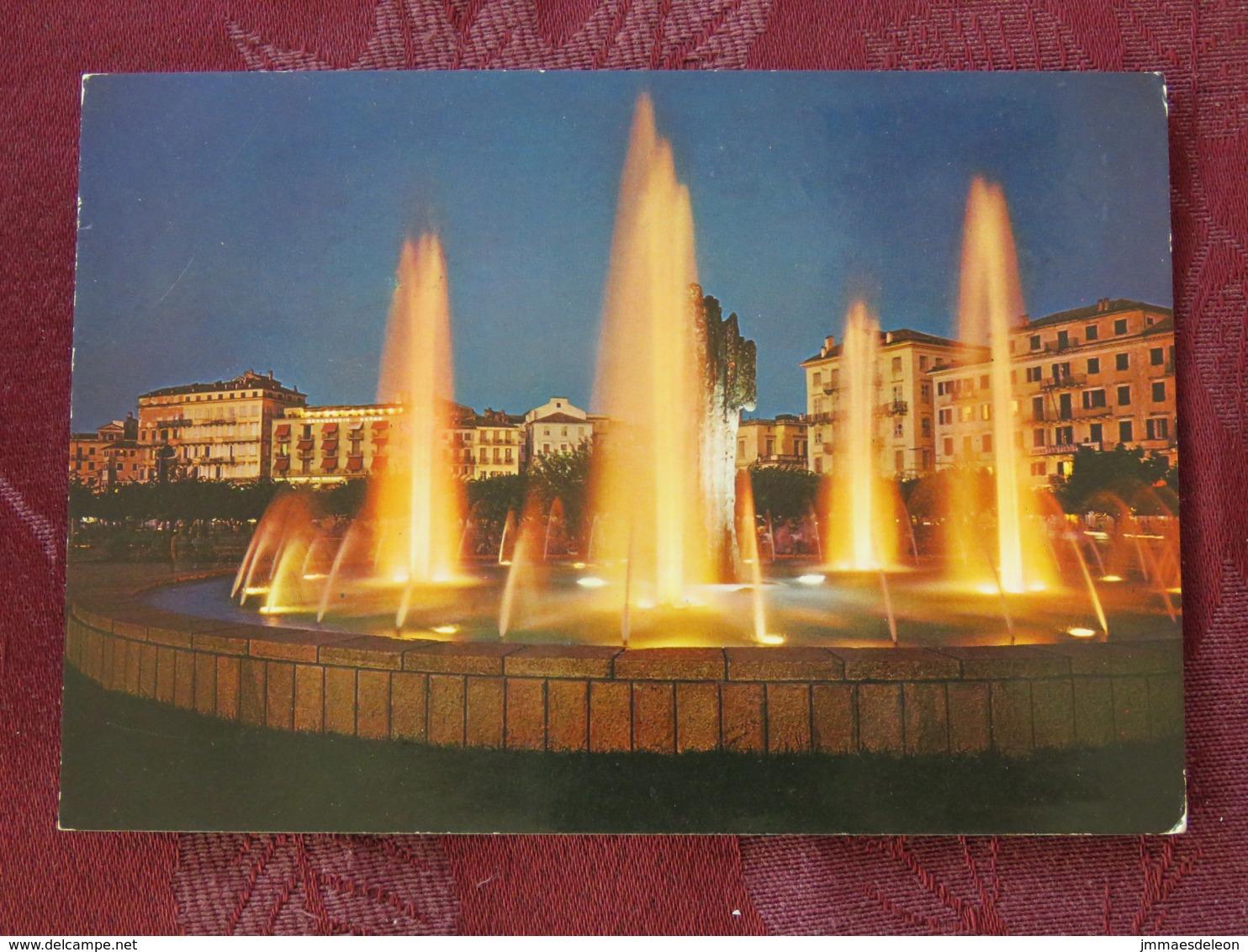 "Greece 1982 Postcard ""Corfu Harbor Fountain"" To England - Sithonia - Halkidiki - Samothrace - Greece"