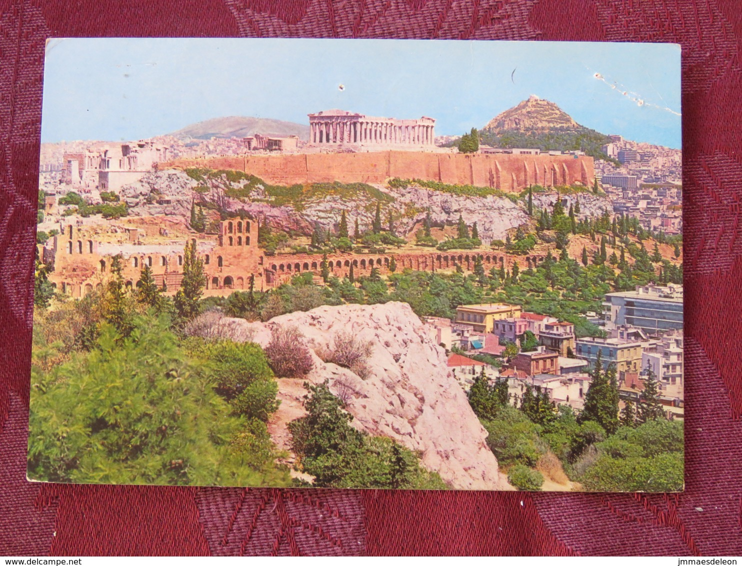 "Greece 1982 Postcard ""Athens Acropolis"" To England - Byzantine Book Illustration - Greece"