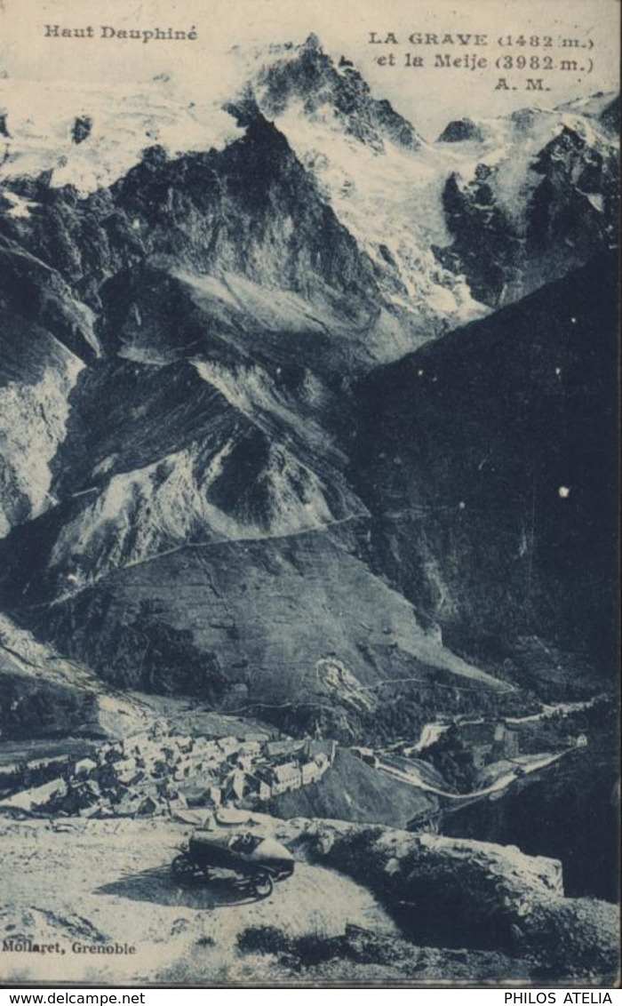 YT 194 Gérance Gratuite CAD Refuge Galibier Hautes Alpes 13 9 26 Semeuse Camée 40c Orange Cachet Restaurant CP La Grave - 1921-1960: Modern Period