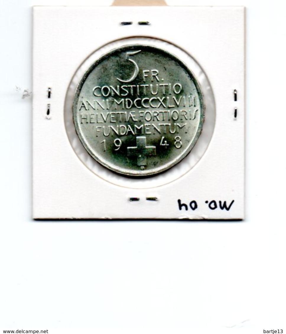 ZWITSERLAND 5 FRANCS 1948 ZILVER SWISS CONSTITUTION CENTENNIAL TYPE COIN - Suisse