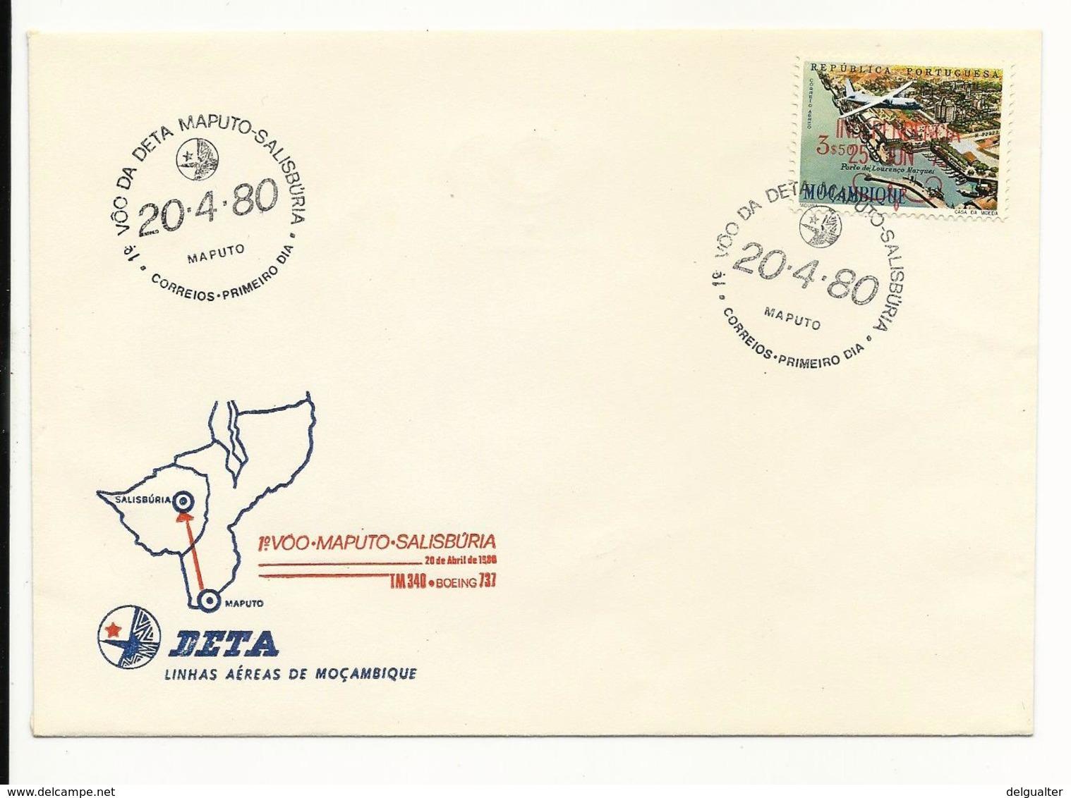 First Flight Cover - Maputo - Salisbúria - DETA - Mozambique