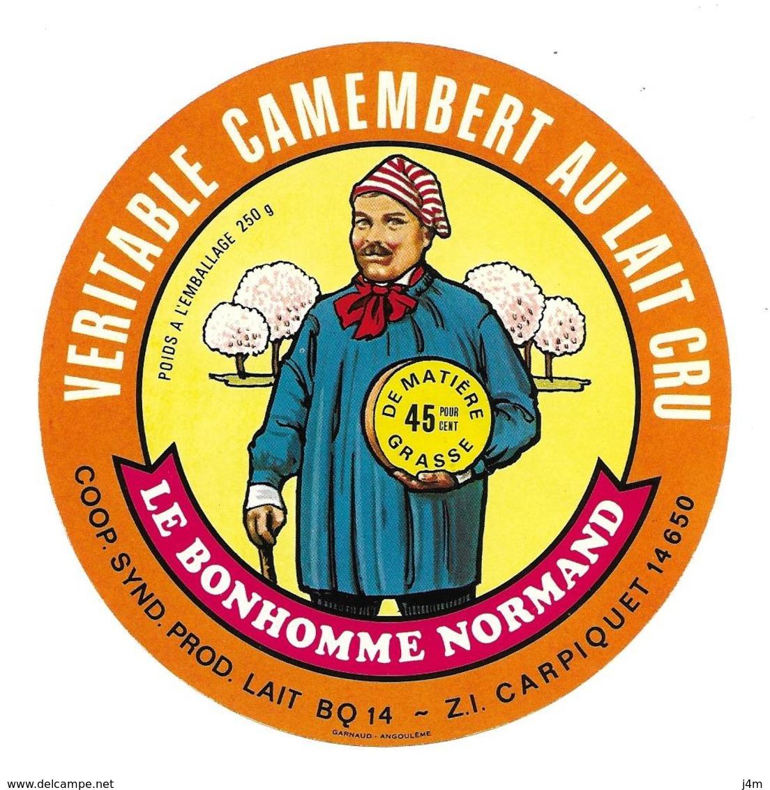 ETIQUETTE De FROMAGE..CAMEMBERT..Le Bonhomme Normand..Coop. Synd. Prod. Lait à CARPIQUET ( Calvados 14-BQ).. 250 G - Formaggio
