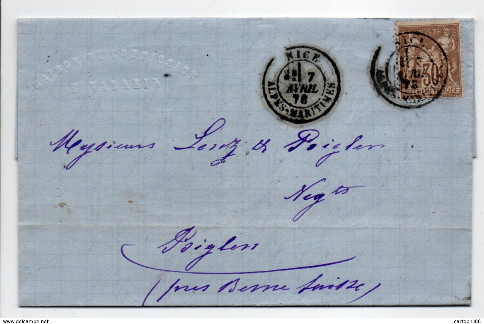 - Lettre MAISON VALARIN, NICE Pour BIGLEN (Suisse) 7 AVRIL 1878 - 30 C. Brun Clair Type Sage I - Cachet AMBULANT - - 1877-1920: Période Semi Moderne