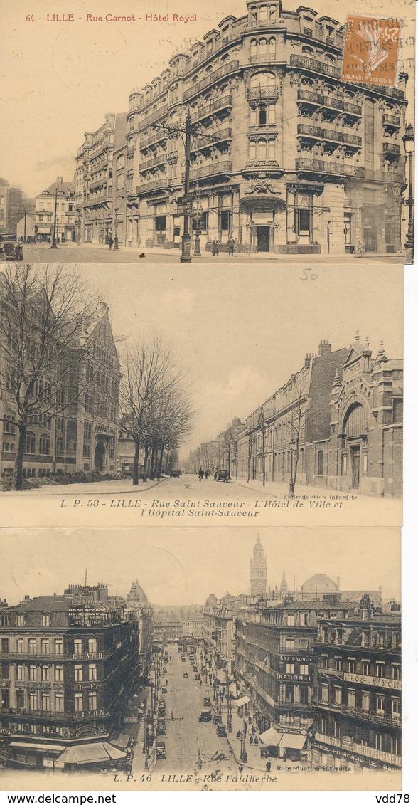 Lille Lot De 3 Lp Hotel Royal,rues Saint Sauveur Et Faidherbe TBE - Lille