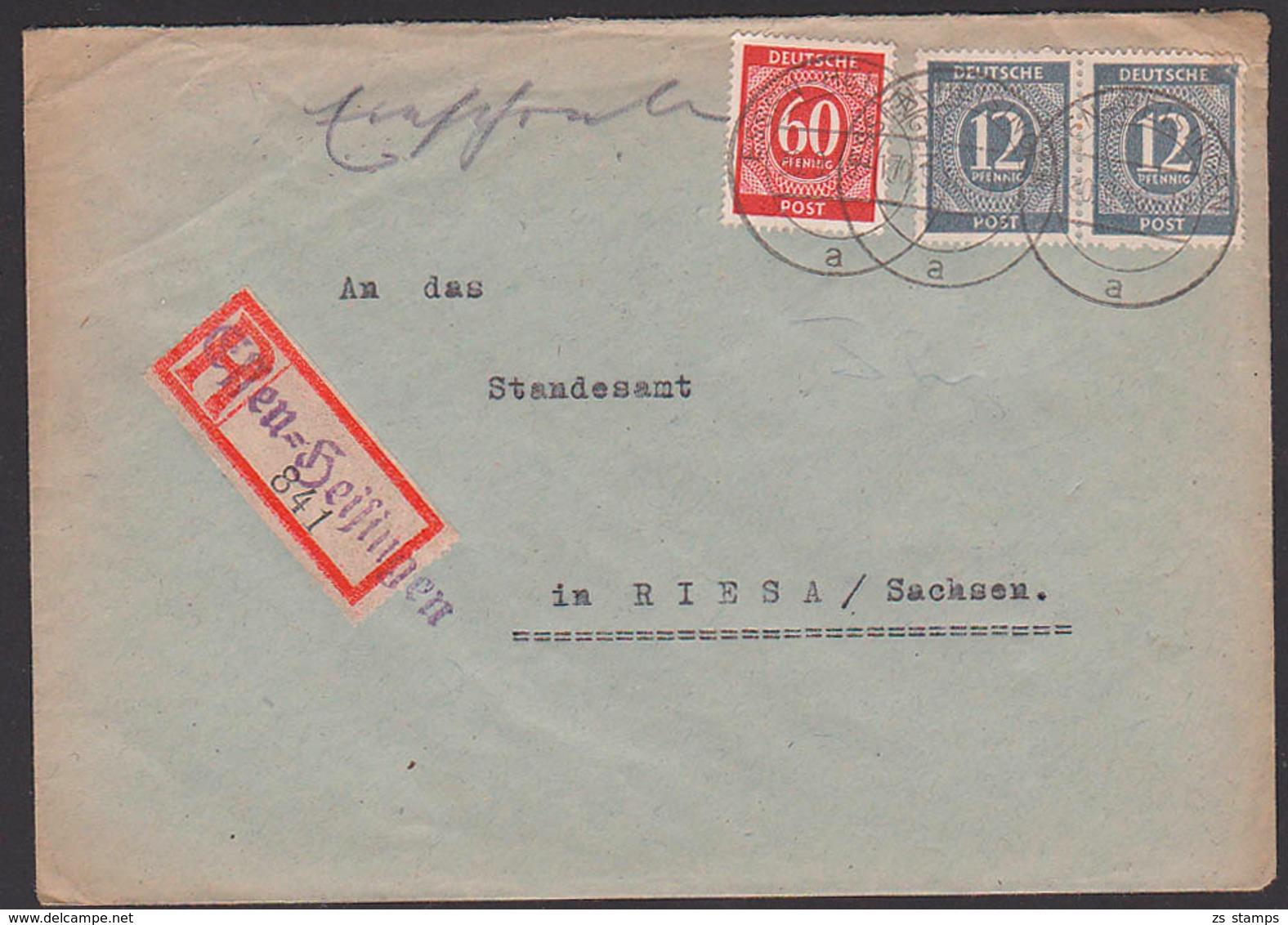 Essen-Heisingen R-Brief Mit 12 (2) Und 60 Pfg. Ziffer Nach Riesa Sachsen, Protogenau - Gemeinschaftsausgaben