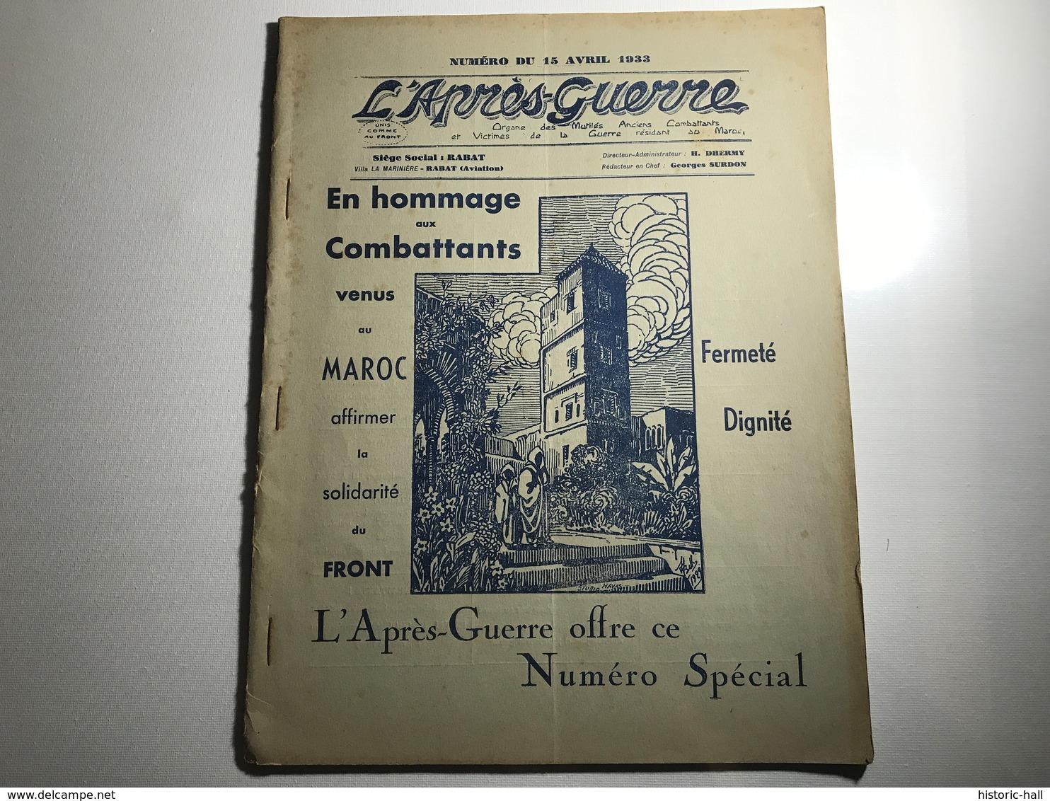 L'APRES GUERRE MAROC - Avril 1933 - Boeken, Tijdschriften, Stripverhalen