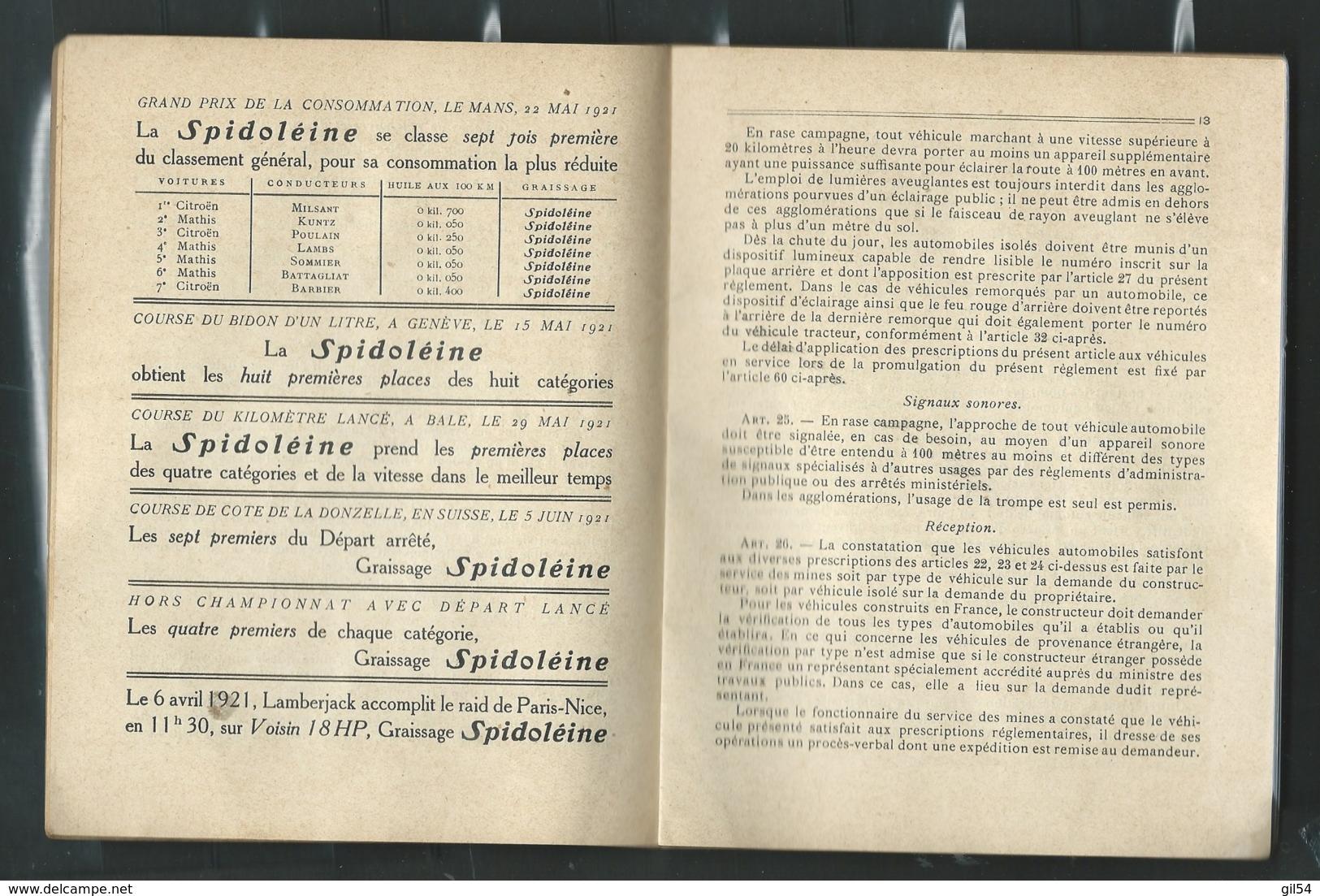 DECRET DE 1921, Livret Du Code De La Route édité Par Les Huiles Spidoléine La Meme Année , Piece De Musée ( 7 Scan LL176 - Auto