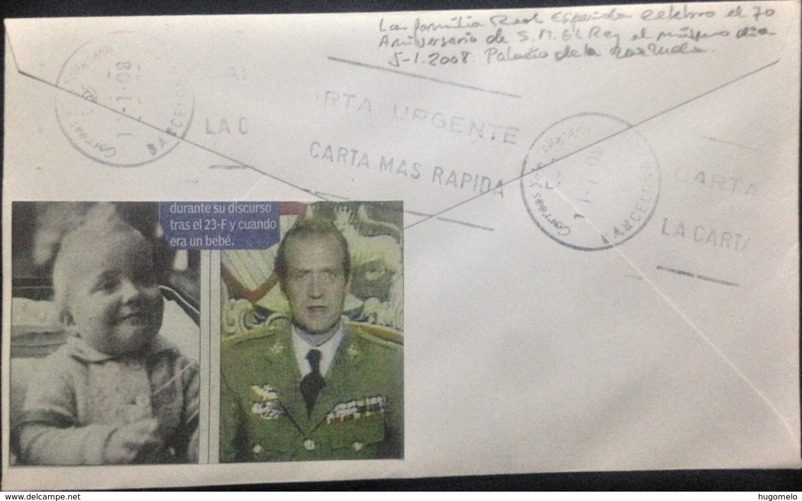 """Spain, Circulated Cover, """"Monarchy"""", """"Anniversaries"""", """"70 Years Of Birthday Of H.M. The King"""", 2008 - 2001-10 Cartas"""