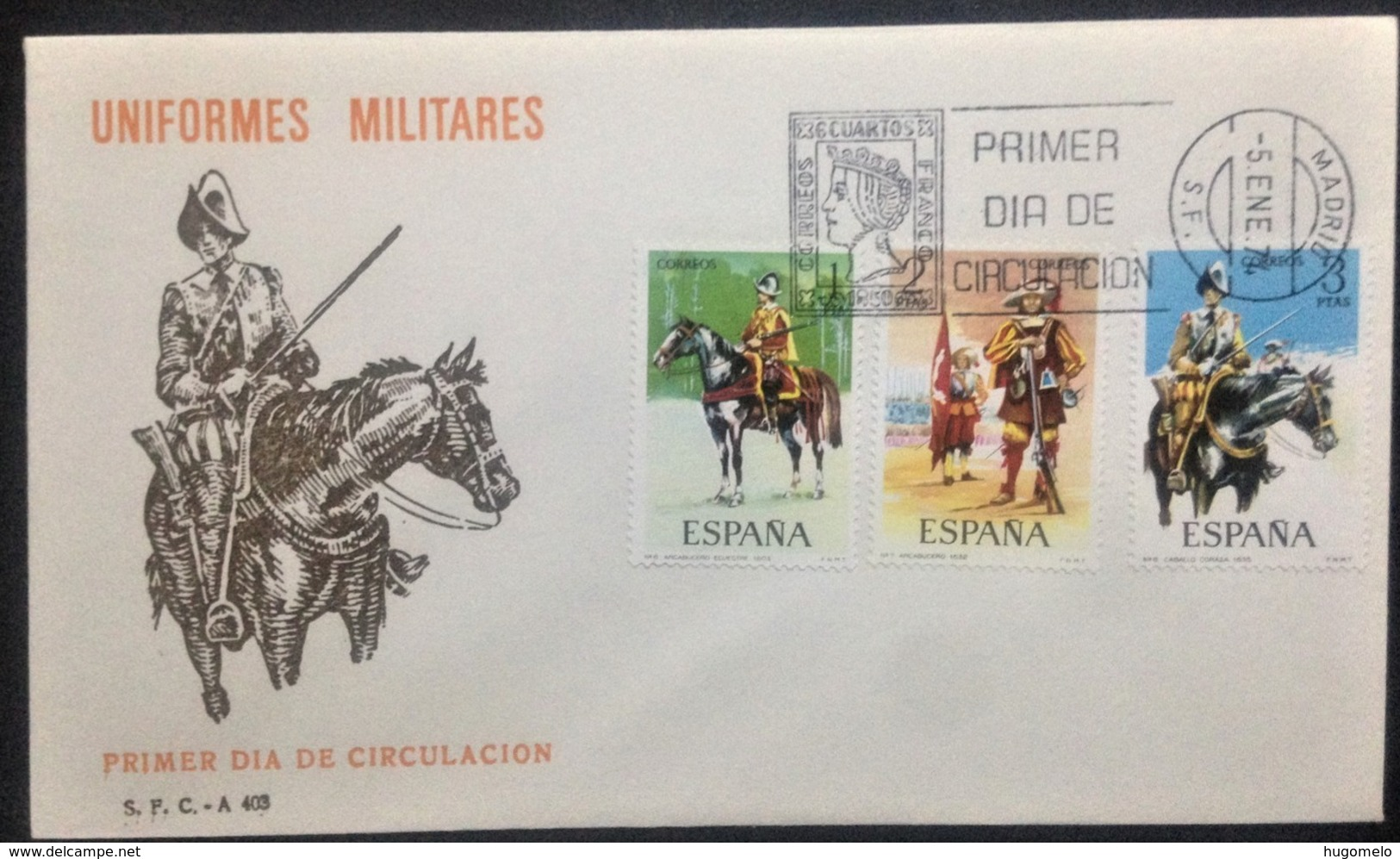"""Netherlands, Uncirculated FDC, """"Militaria"""", """"Military Uniforms"""", """"Horses"""", 1974 - FDC"""