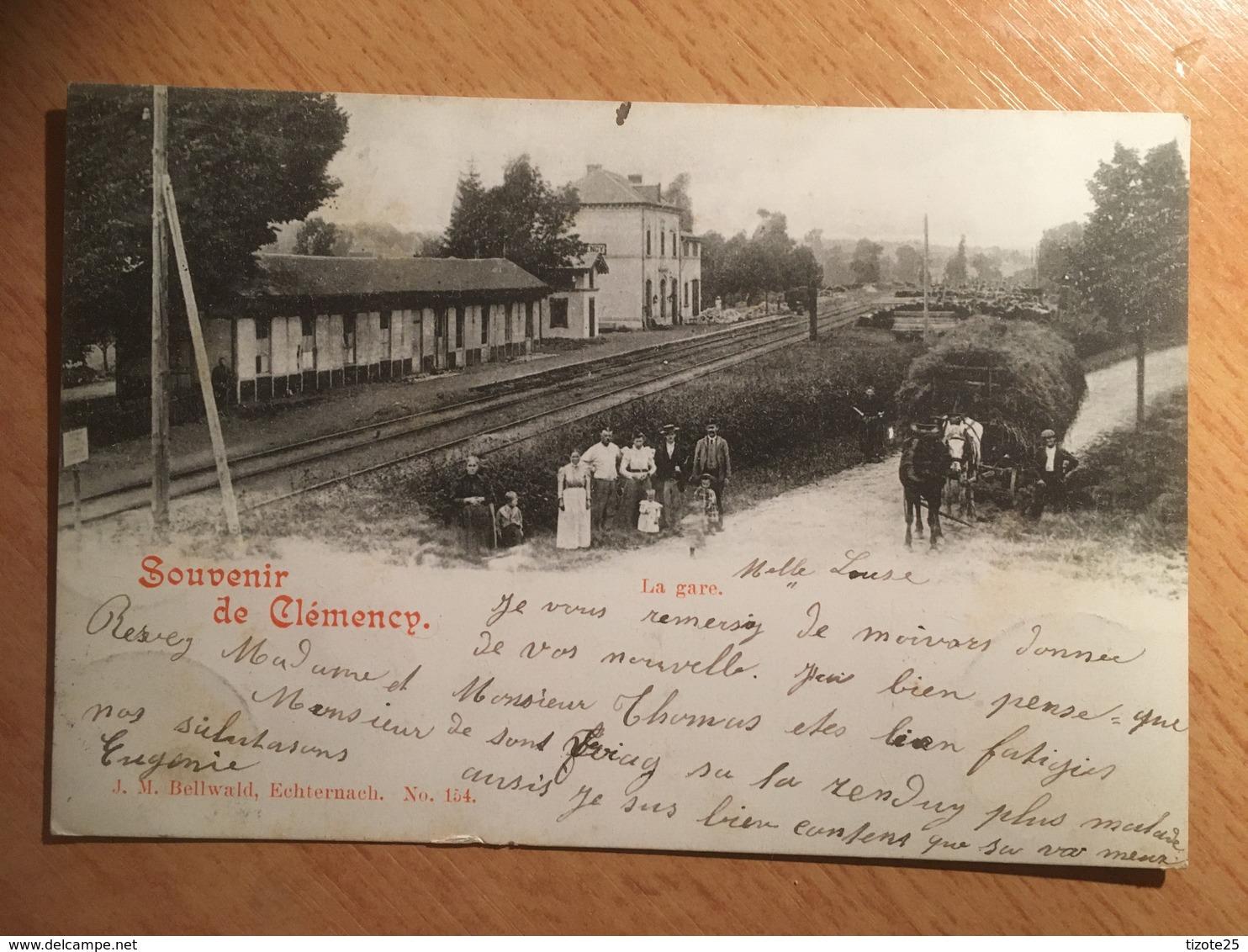 Souvenir De La Gare De Clemency Kënzeg Künzeg Küntzig Käerjeng Canton De Capellen Au Luxembourg Circulée 1903 - Postkaarten