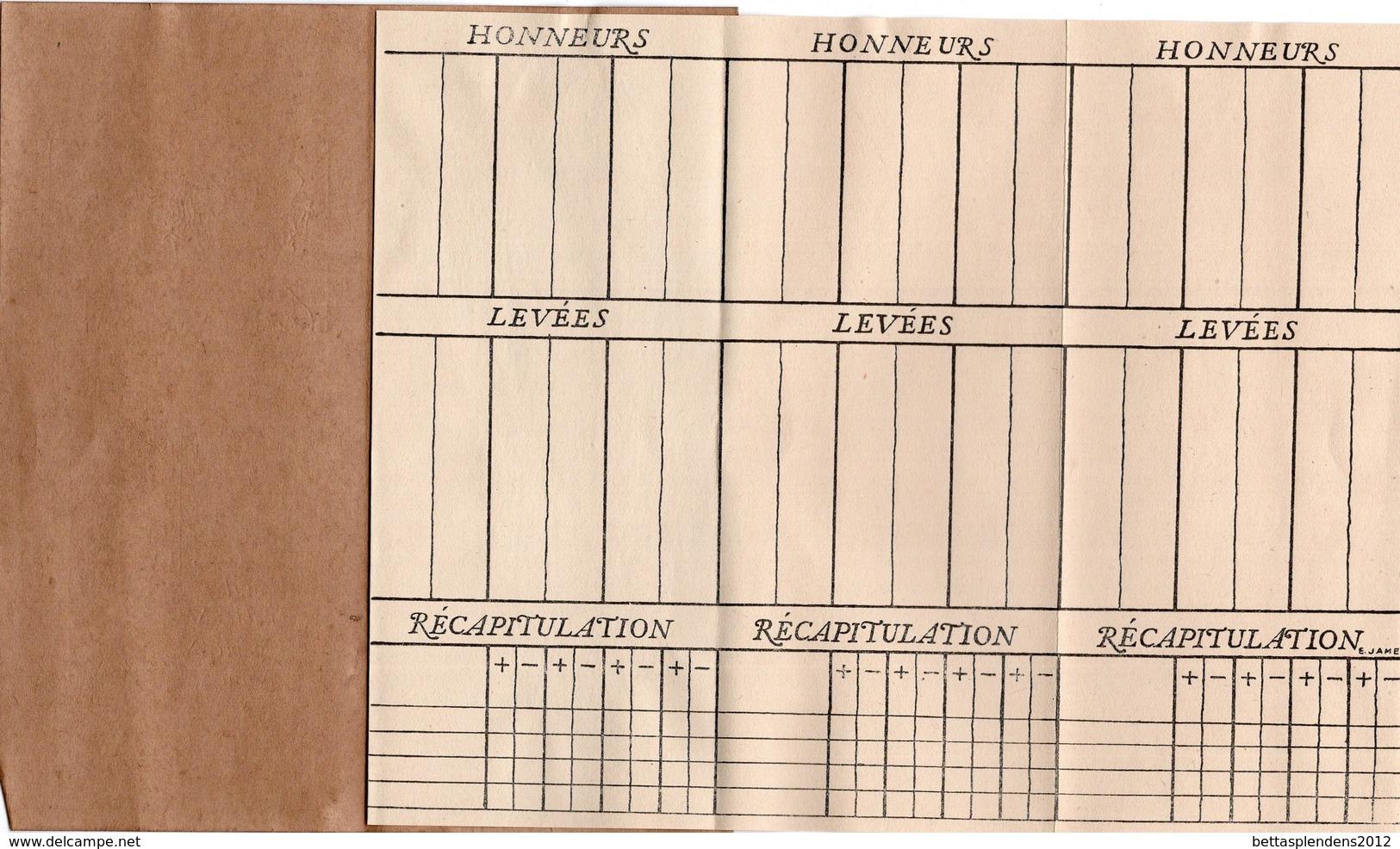 BRIDGE - Pochette Cousue - 4 Relevés De Points - HONNEURS - LEVEES - RECAPITULATION - Playing Cards