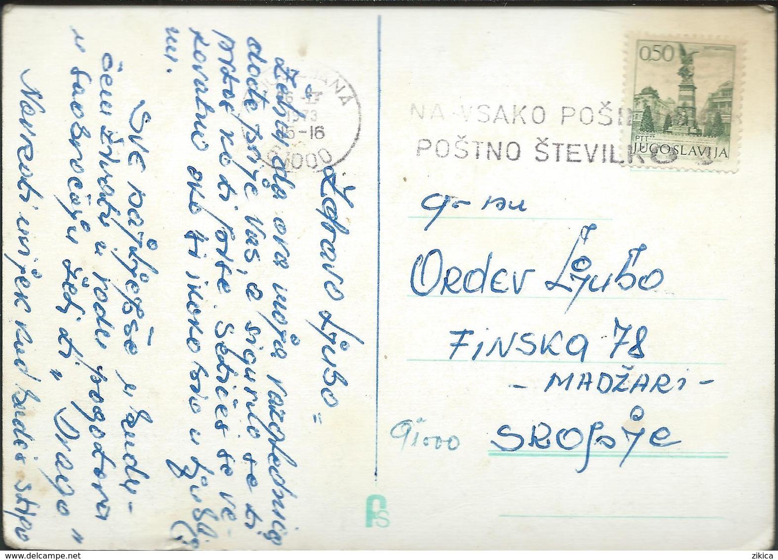 """Yugoslavia Slogan/ Flame ,,Na Vsako Posilko Postno Stevilko"""" - Slovenia Ljubljana 1973 - 1945-1992 Sozialistische Föderative Republik Jugoslawien"""