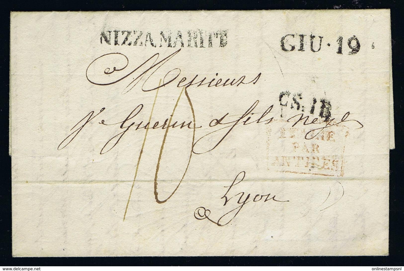 Italy Complete Letter NIZZA MARITE  GIU.19  CSIB Par Antibes  To Lyon 1822 - Italië