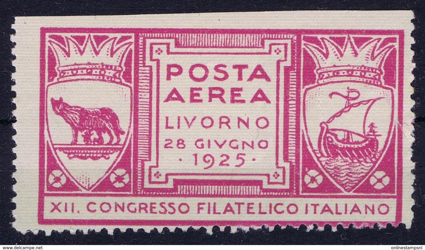 ITALY POSTA AEREA LIVORNO 1925  XII CONGRESSO FILATELICIO ITALIANO - 1900-44 Victor Emmanuel III.