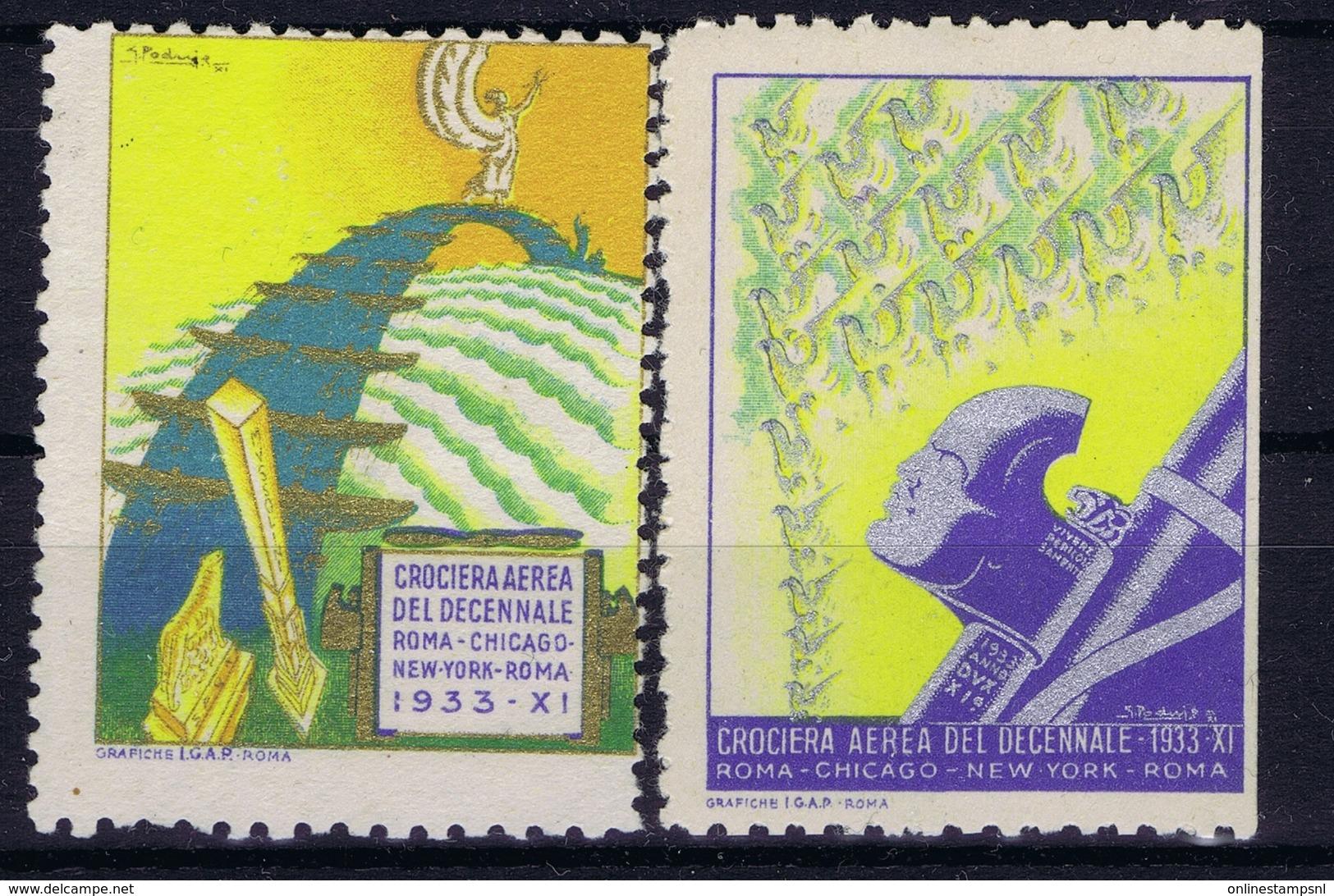 ITALY 1933  CEOCIERA AEREA TRANSATLANTIQUE ROMA CHICAGO  NEW YORK ROMA - 1900-44 Victor Emmanuel III