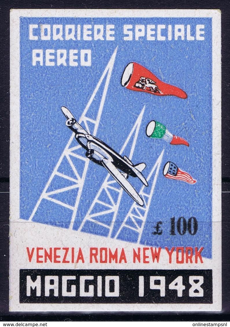 ITALY CORRIERE SPECIALE AEREO VENEZIA ROMA NEW YORK 1948 47 - 1900-44 Victor Emmanuel III