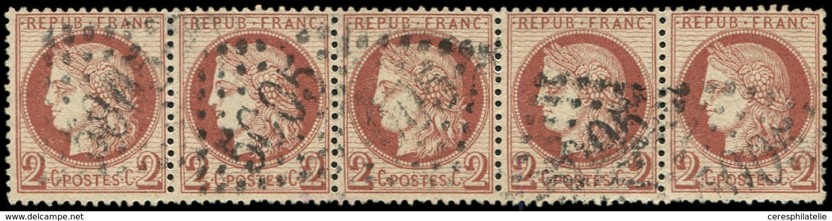 CERES DENTELE - 51    2c. Rouge-brun, BANDE De 5 Obl. GC 5005 D'ALGER, TTB - 1871-1875 Ceres