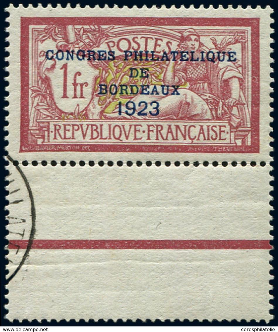 ** EMISSIONS DU XXème SIECLE - 182   Congrès De Bordeaux, 1f. Lie De Vin Et Olive, Bdf, Bon Centrage, Càd Sur Bord, TB.  - France