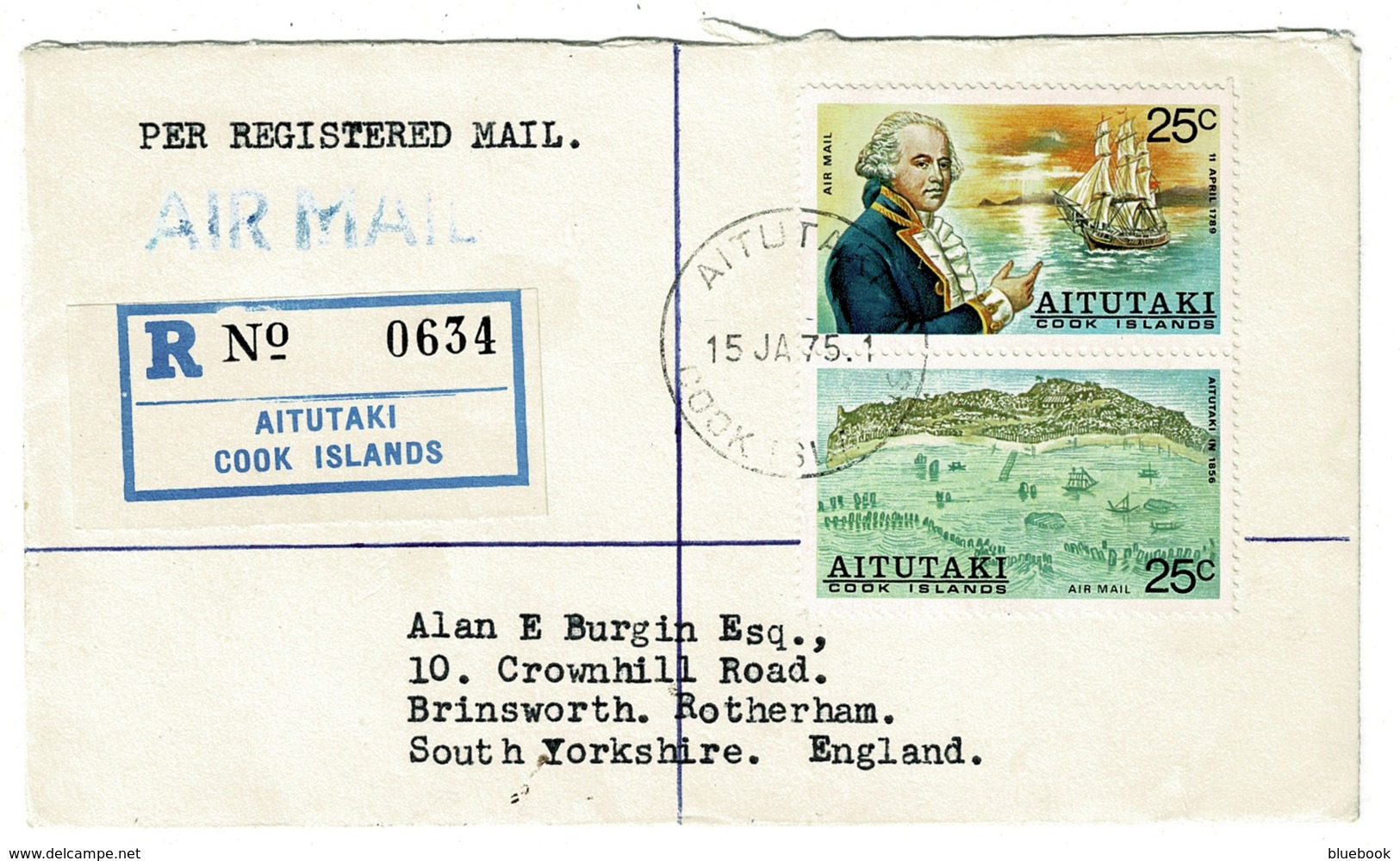 Ref 1334 - 1975 Registered Airmail Cover - 50c Rate Aitutaki Pacific Cook Islands To UK - Aitutaki