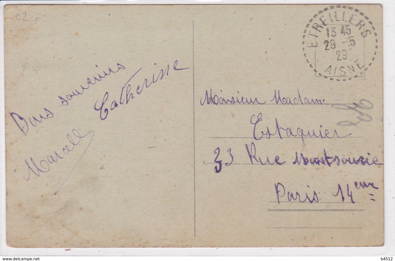 02 ETREILLERS Ruines De L'hospice , Marcophilie Tampon Etreillers 1929 - France