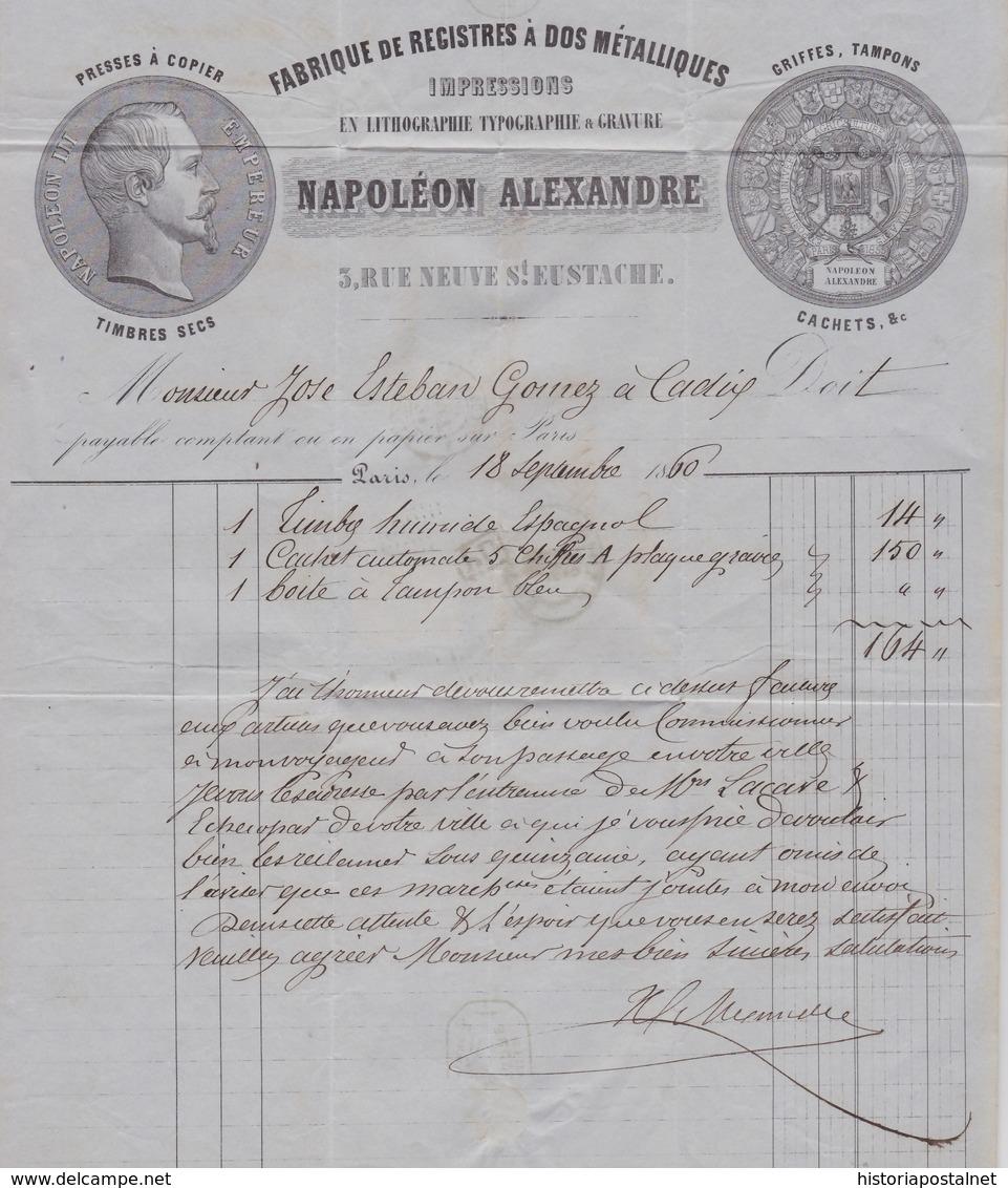 1860. PARÍS A CÁDIZ. 40 CÉNTIMOS NARANJA MAT. MARRILLA PUNTOS SANS FINS Y P.D. ROJO. FECHADOR Y MARCA CADIZ/FRANCO. - Marcofilia (sobres)