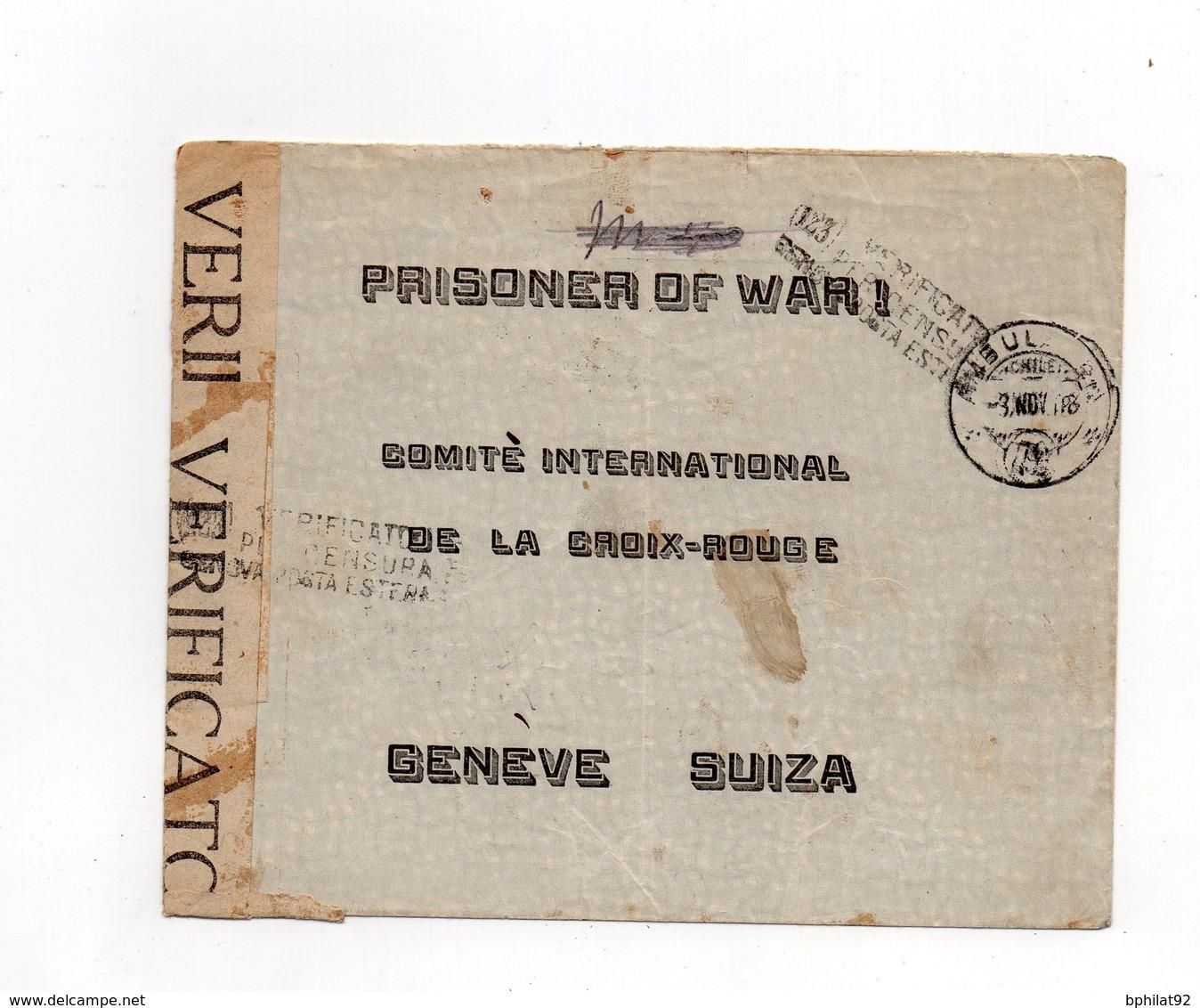 !!! MILITAIRE ALLEMAND INTERNE AU CHILI, LETTRE DE 1918 POUR LA CROIX ROUGE - Guerre De 1914-18