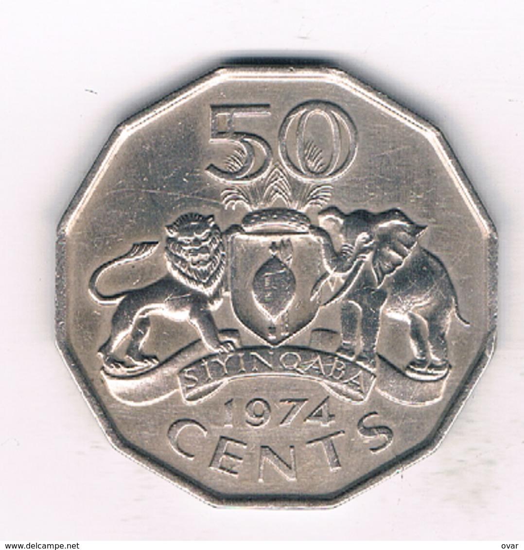 50 CENTS 1974 (mintage 252000 Ex)  SWAZILAND /975/ - Swaziland