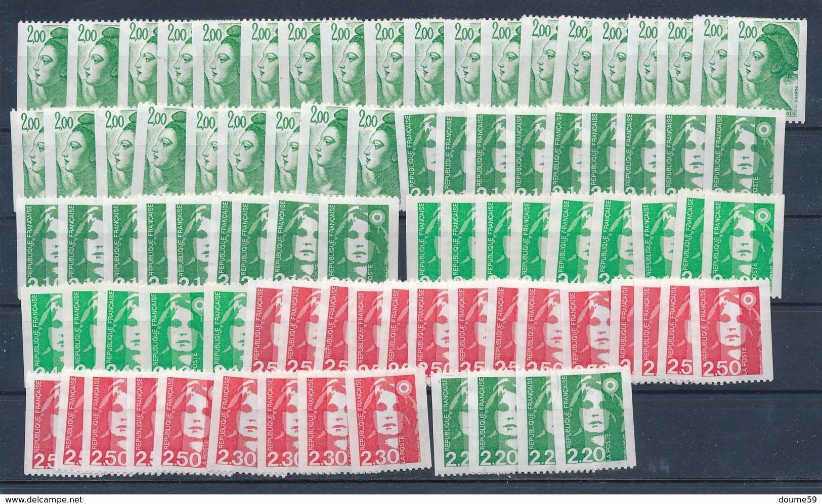 DI-310: FRANCE: Lot Avec Roulettes Avec N° Rouge (faciale De 28.50) - Coil Stamps