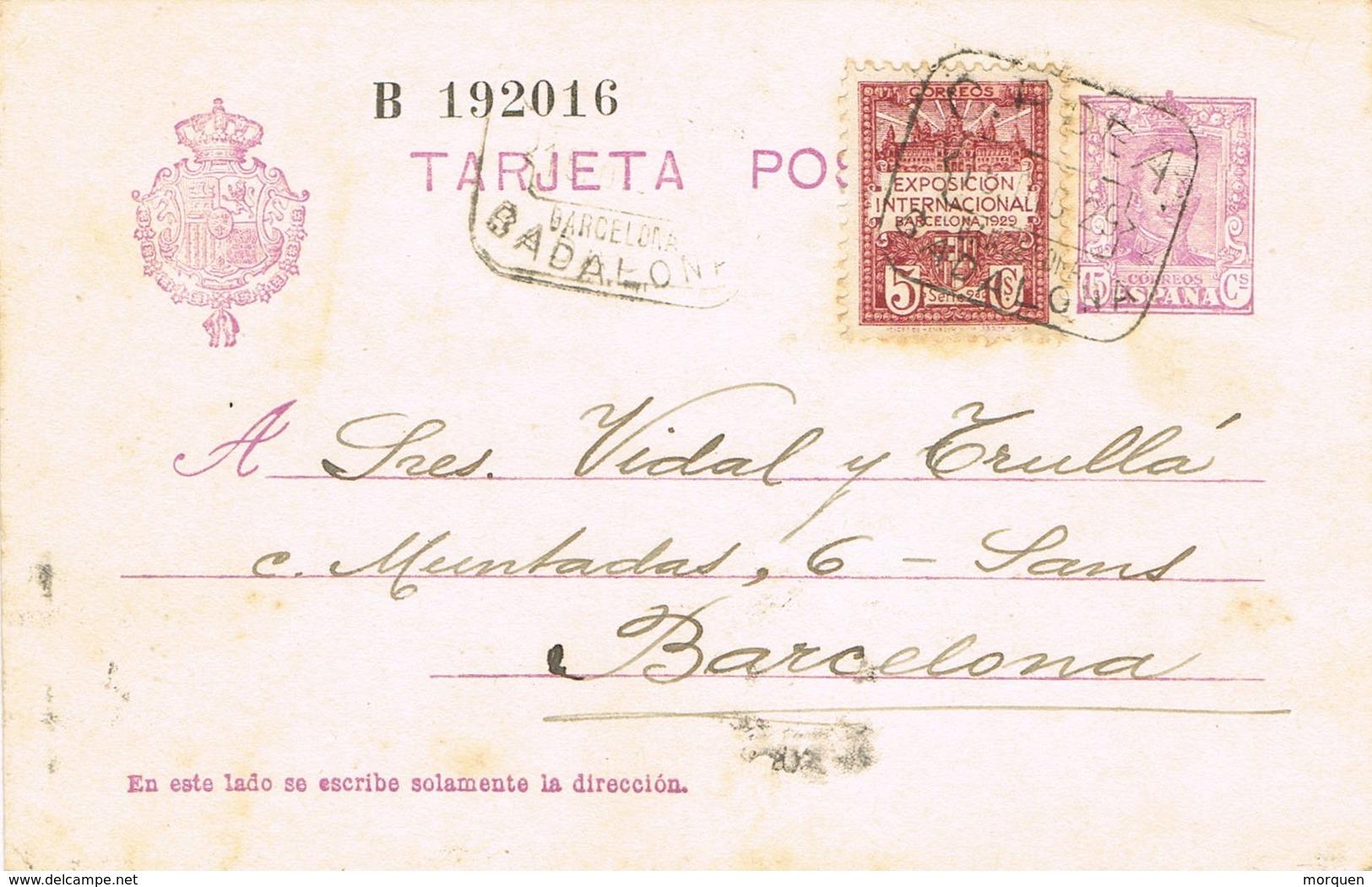 35689. Entero Postal BADALONA (Barcelona) 1929. Recargo Exposicion. Fechador Caja Postal De Ahorros - Enteros Postales