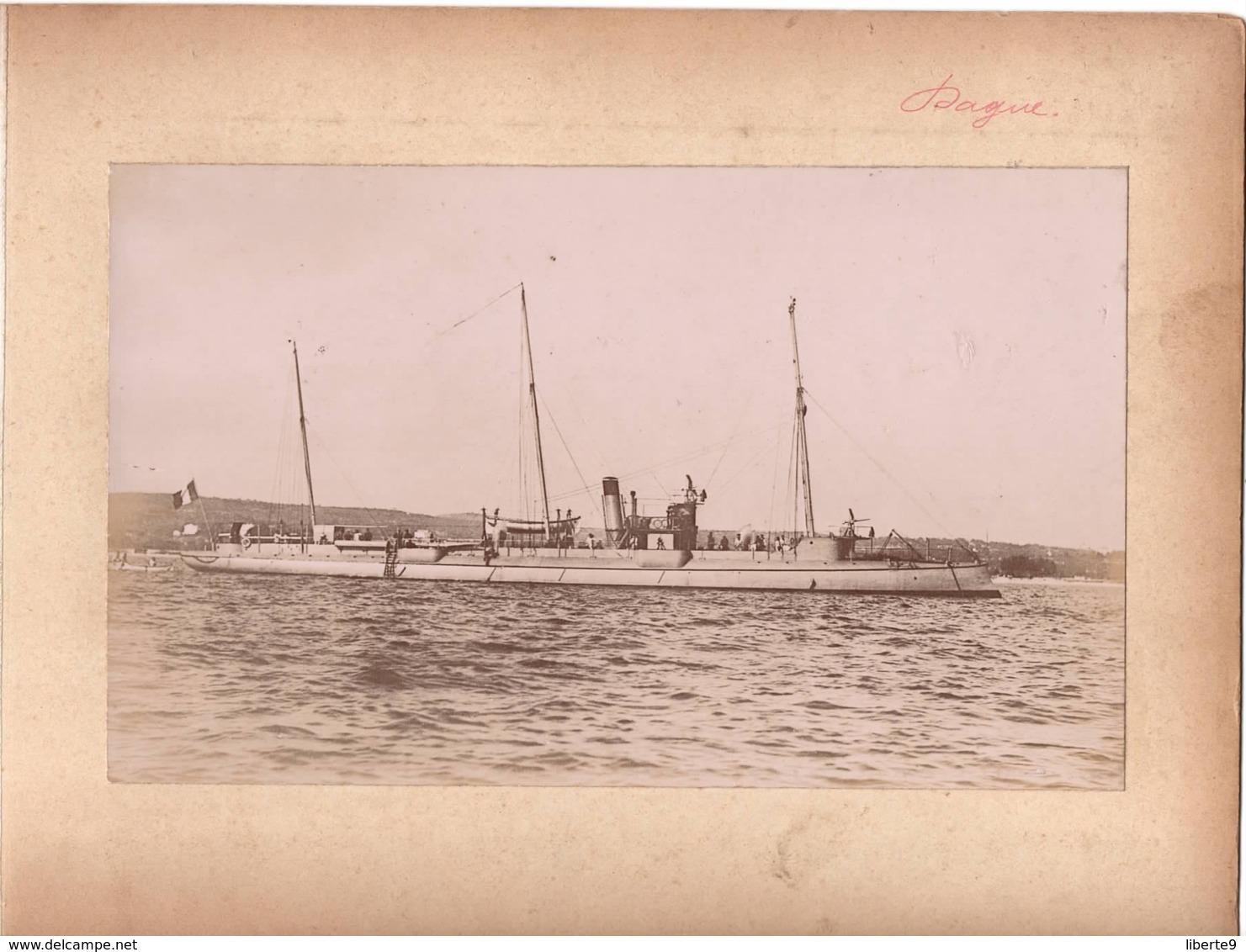 Navire Bateau De Guerre C.1898  DAGUE Croiseur Cuirassé ? - Marine Nationale - Anciennes (Av. 1900)