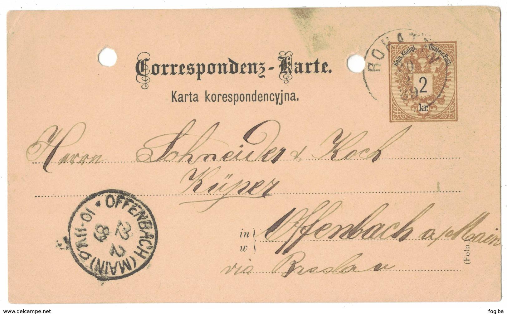 IZ136    Österreich 1889 -  Correspondenz-Karte Von Rohatyn Galizien (Ukraine) Nach Offenbach (Main) - Interi Postali