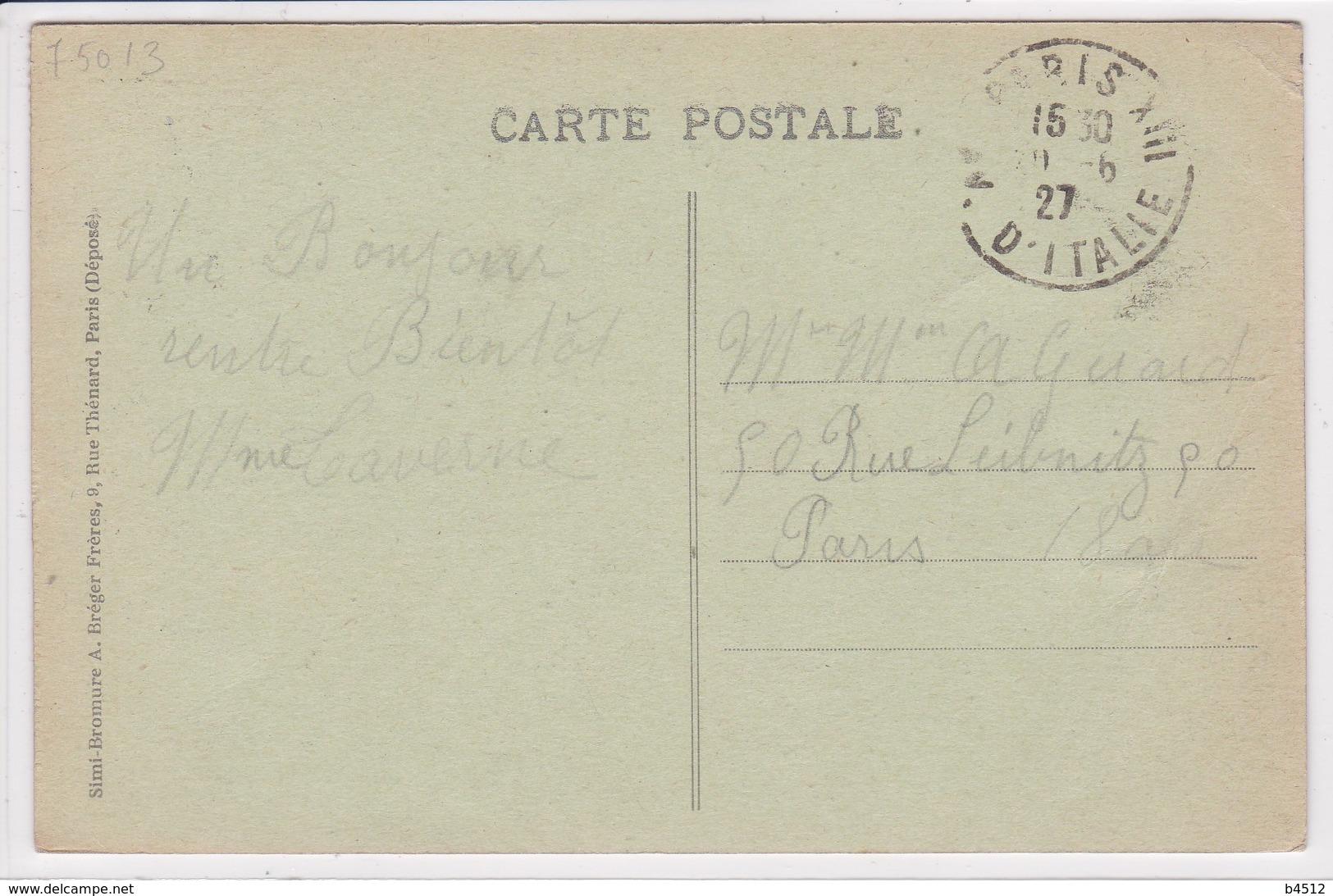 75 PARIS Hôpital Broca , Les Jardins , Philatélie ,timbre Type Semeuse Surchargé - District 13