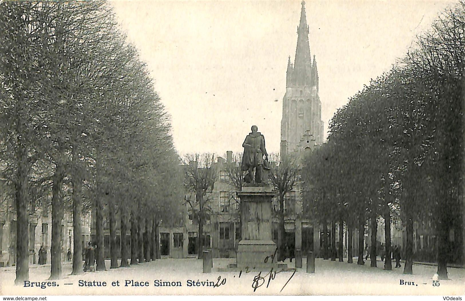 CPA - Belgique - Brugge - Bruges - Statue Et Place Simon Stévin - Damme