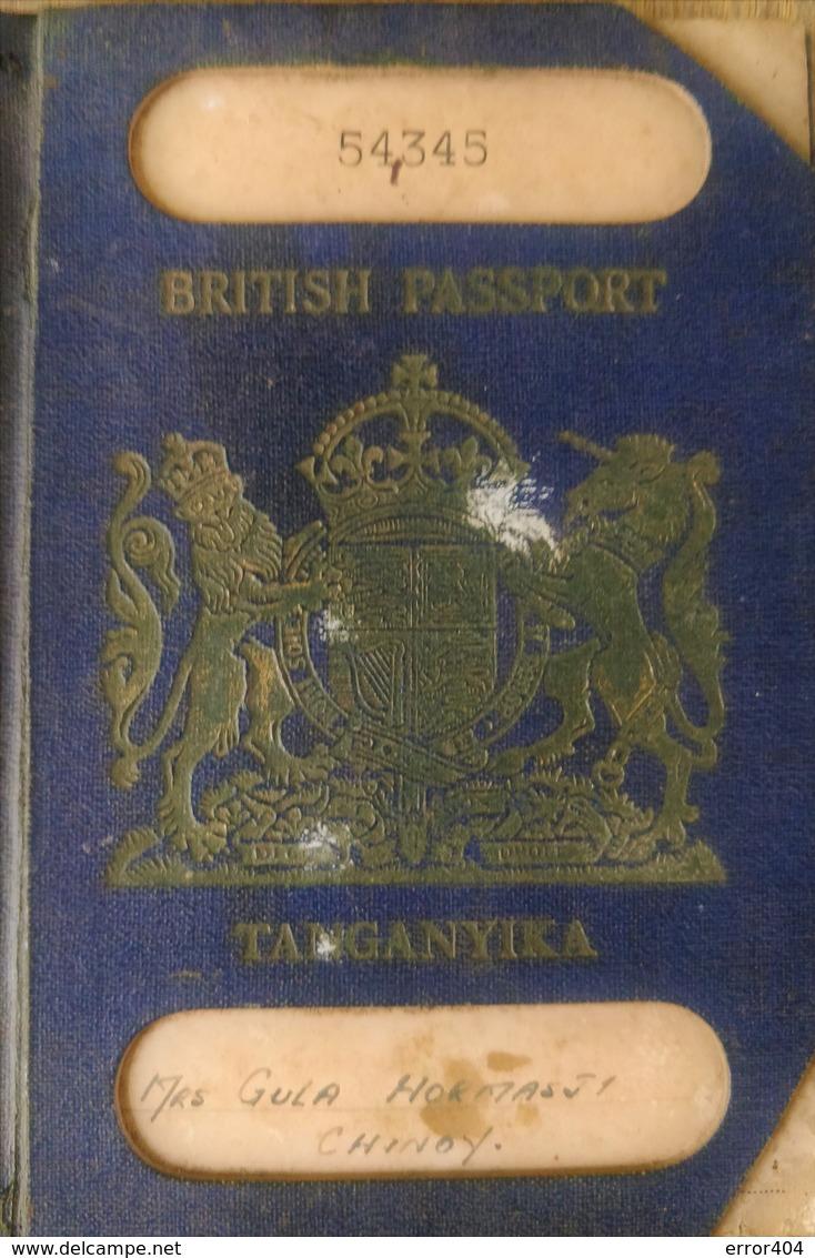 British Tanganyika Colonial Passport Issued In 1955 With Many Visas To Kenya, Zanzibar! Extremely Rare Type! - Historische Documenten