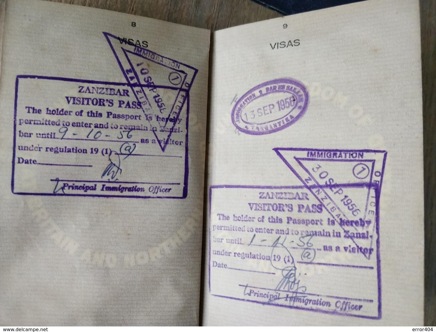 British Tanganyika Colonial Passport Issued In 1955 With Many Visas To Kenya, Zanzibar! Extremely Rare Type! - Historical Documents