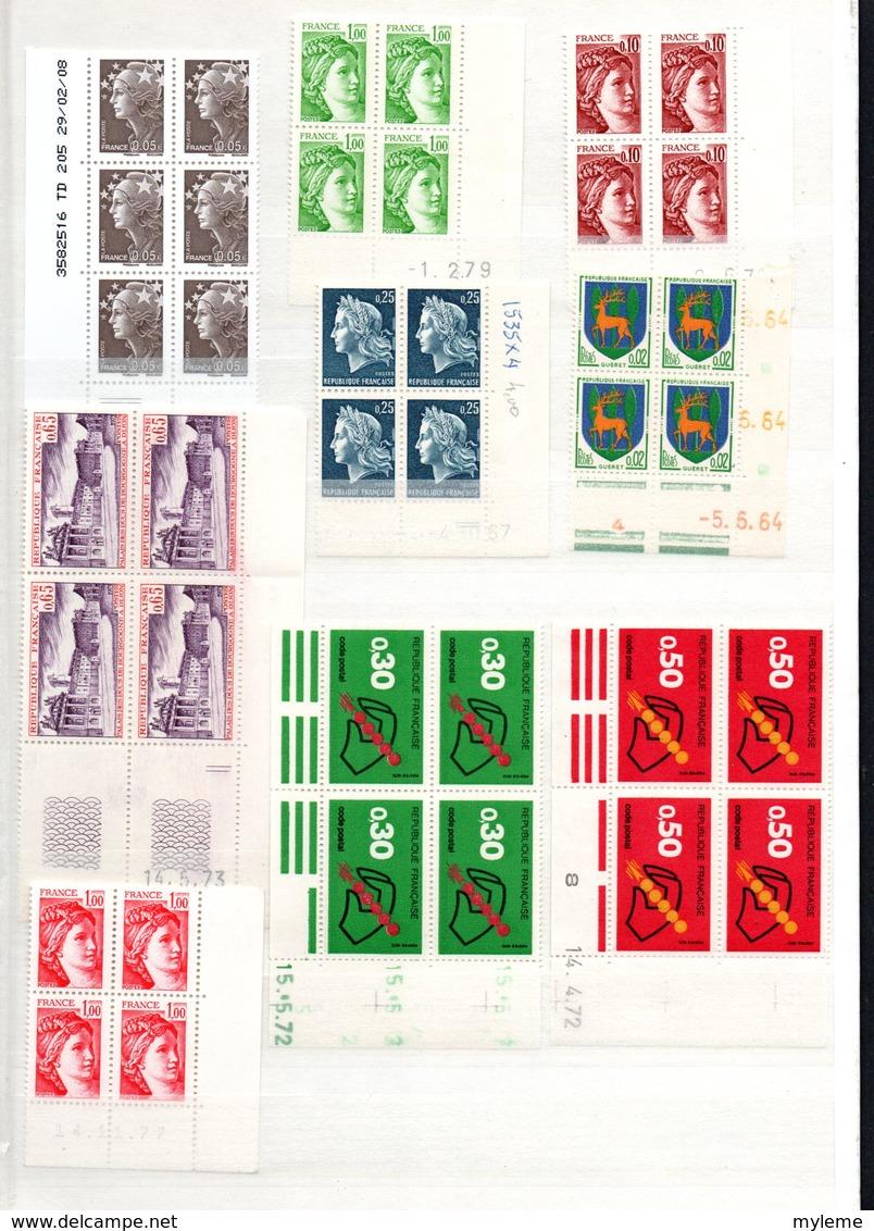 Bx Carton Dont France N° 241 + 242 ** + 348 à 351 ** (PEXIP) + Bloc N° 6 Obl +39 Coins Datés+ Séries GH ...Voir Comm !!! - Timbres