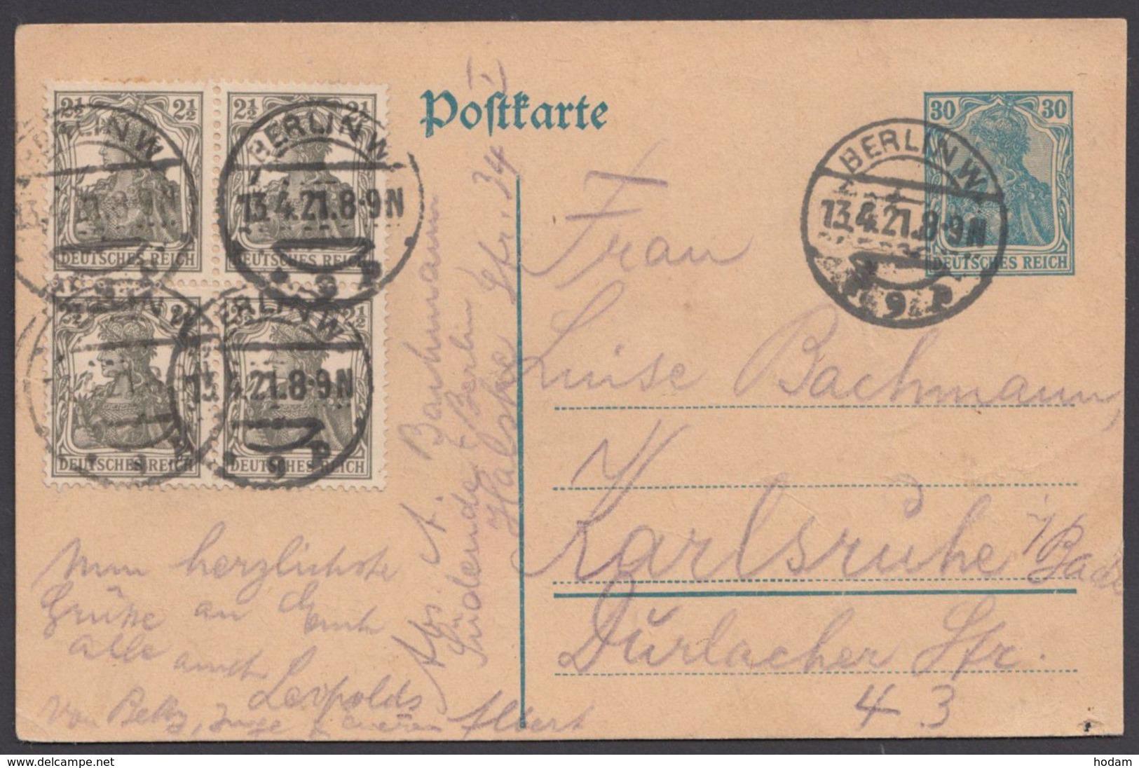 Mi- Nr. 98, 4er Block Als Zusatzfrankatur Auf Bedarfs- GS, Michel: -,- - Briefe U. Dokumente
