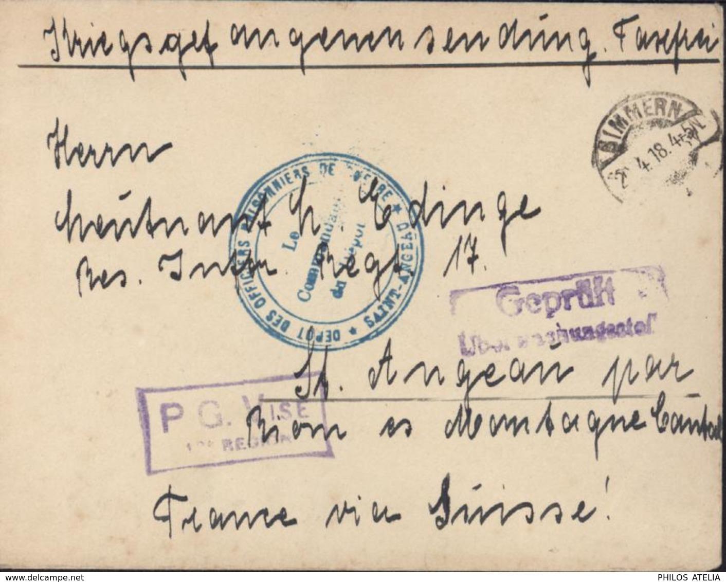 Guerre 14 Prisonnier Allemand CAD Simmern 2 4 18 Cachet Bleu Dépôt Officiers Prisonniers De Guerre Saint Angeau Censure - Poststempel (Briefe)